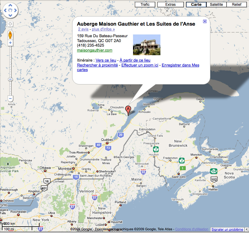 Map and activities for Auberge maison gauthier tadoussac